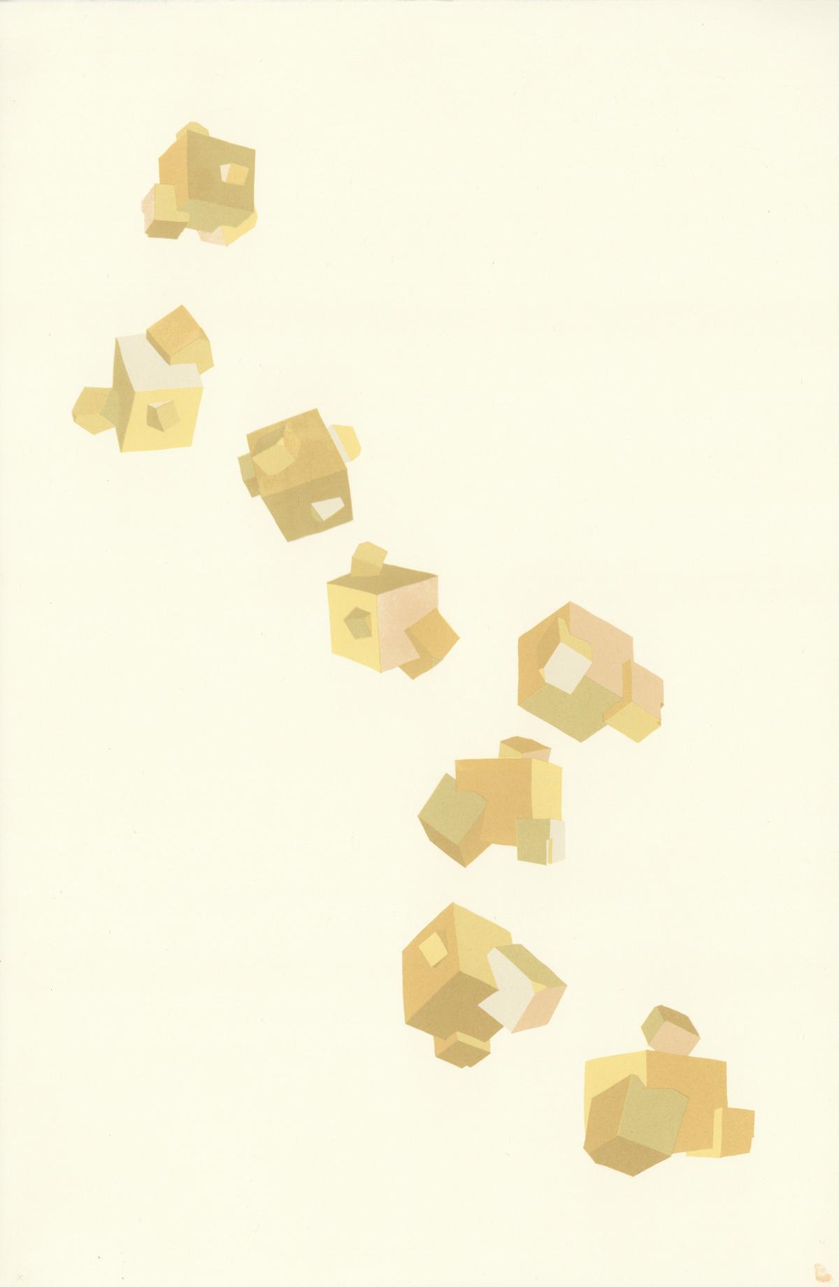 'Falling pyrite' Four colour screen print on Soft White Somerset Satin 57x37cm