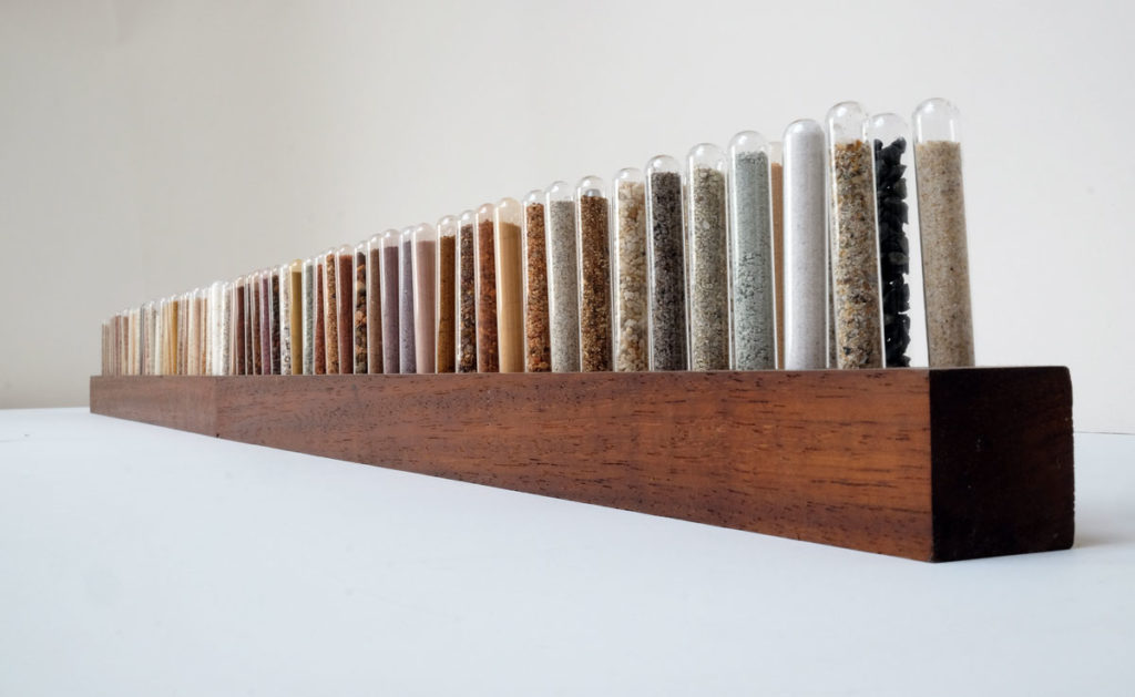 119 test tubes of sand from Western Australia collected by Emily Ketteringham