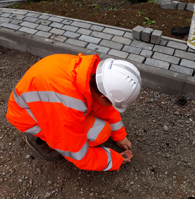 Emily Ketteringham in fluorescent jacket and hard hat