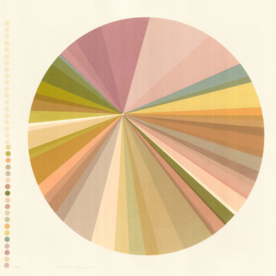 Circular screenprint by Emily Ketteringham bold lines going towards a central point in pinks, purples and earth tones.