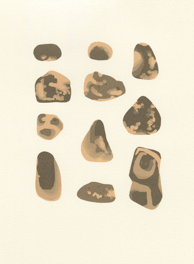 Screenprint by Emily Ketteringham. 11 small sandstone pebbles arranged evenly on the pages, tones of grey and subtle orange.