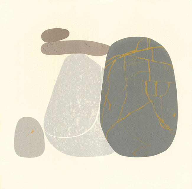 Emily Ketteringham screenprint. A monolithic dark grey pebble with golden lines crisscrossing it stands infront. Behind two small pebbles balance precarioulsy on a lighter grey speckled pebble.