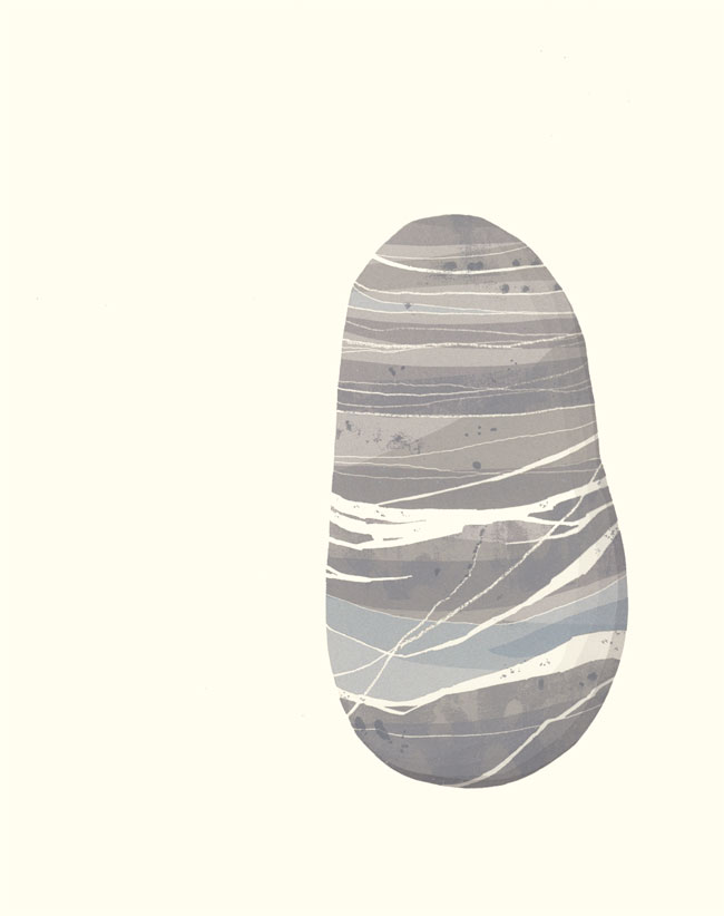 Screenprint by Emily Ketteringham of a beach pebble in many shades of grey with white lines of quartz running through it.