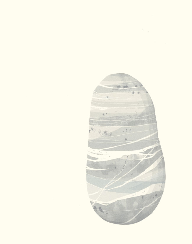 Screenprint by Emily Ketteringham of a beach pebble in many shades of pale grey and soft blue with white lines of quartz running through it.