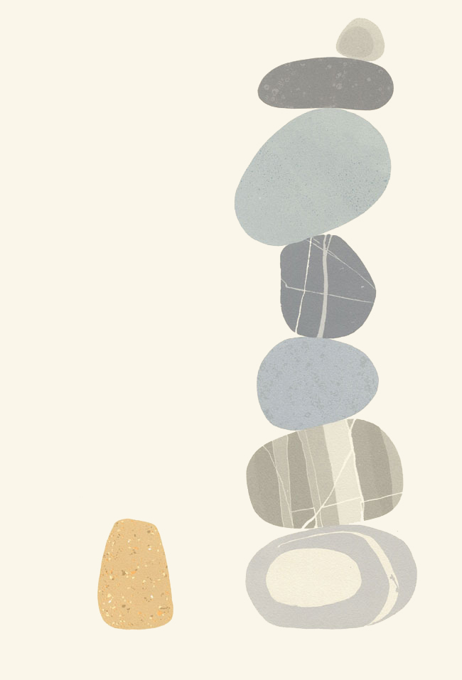 Screenprint by Emily Ketteringham. A carefully balanced pile of 7beach pebbles with one lone pebble standing next to it.