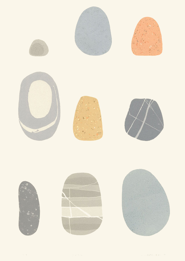 Screenprint by Emily Ketteringham. Nine different beach pebbles arranged neatly on the page.