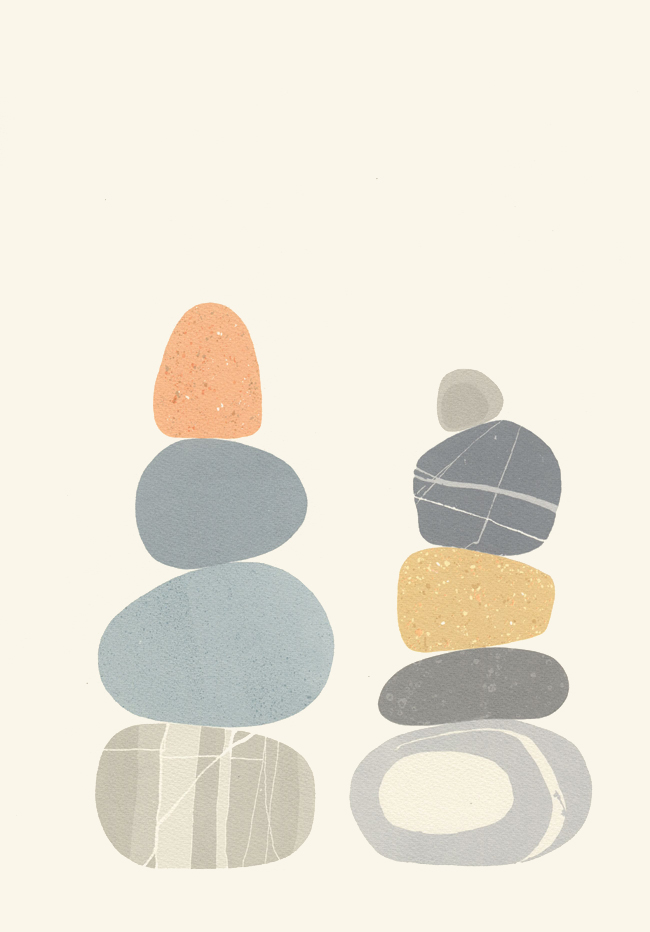 Screenprint by Emily Ketteringham. Two carefully balanced piles of rounded beach pebbles.