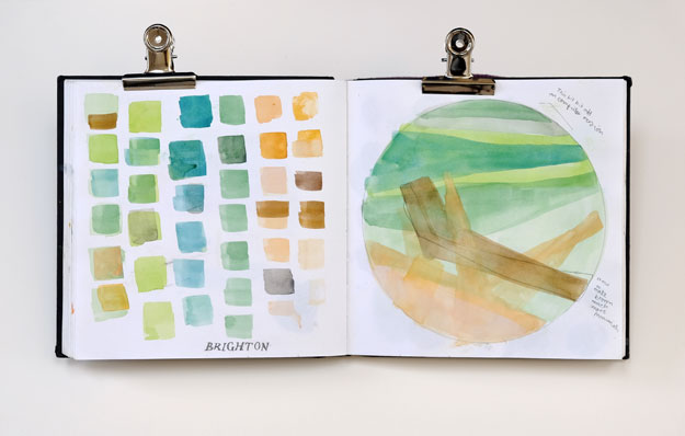 Sketchbook page of colour matching and composition for Brighton printprint