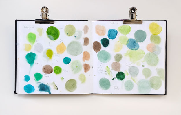 Sketchbook page of colour mixing experiments
