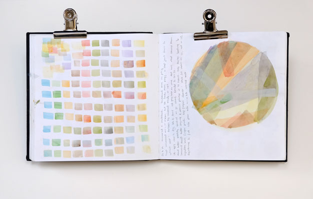 Sketchbook page of colour matching and composition for Bristol print
