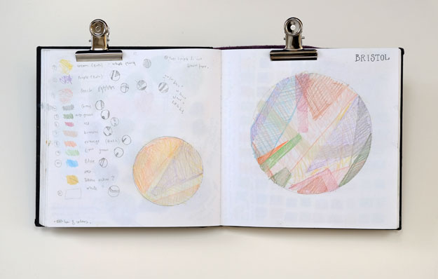 Sketchbook page of compostion experiments