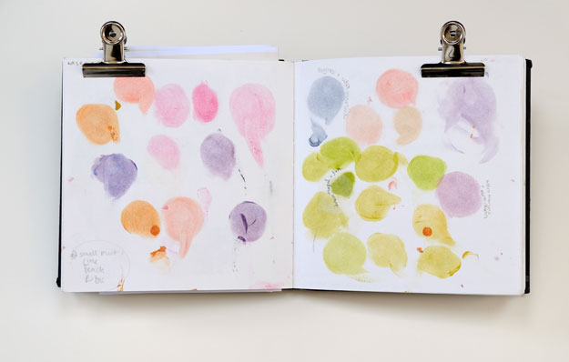 sketchbook page of colour tests for print