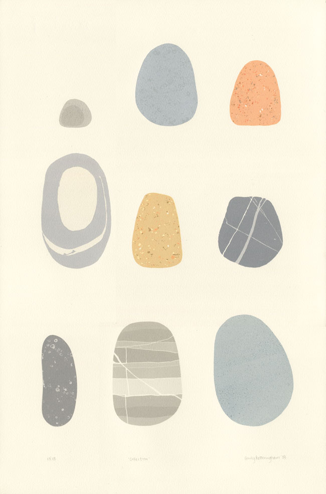 pebble screen print by Emily Ketteringham. nine beautiful pebbles arranged neatly on the page.