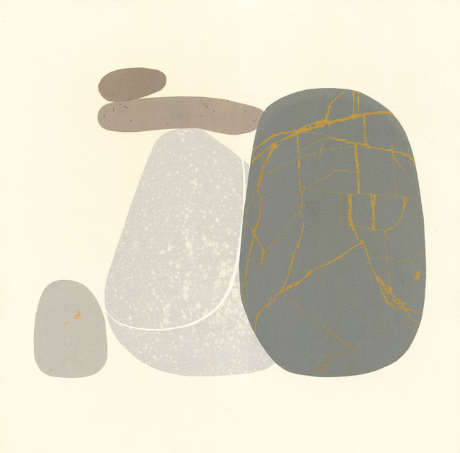 pebble screen print by Emily Ketteringham. Monolithic dark grey pebble with gold lines stands in front of four other pebbles