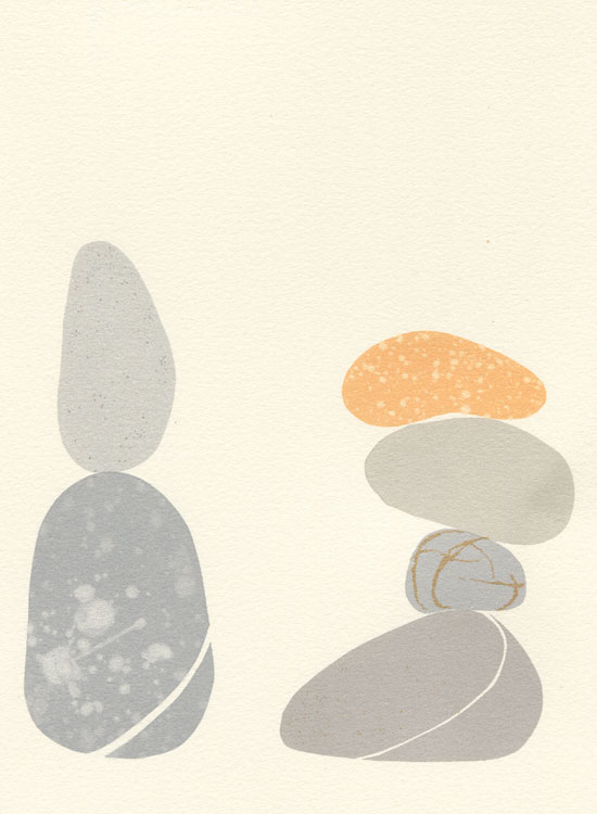 pebble screen print by Emily Ketteringham. six small pebbles balanced in two precarious piles.