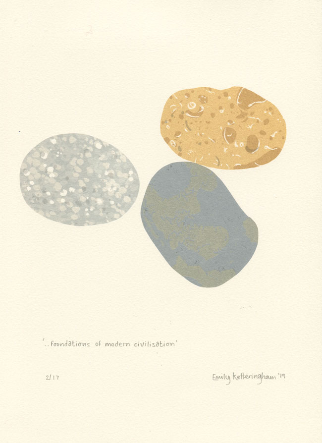 screen print by Emily Ketteringham. Three pebbles from Eastbourne