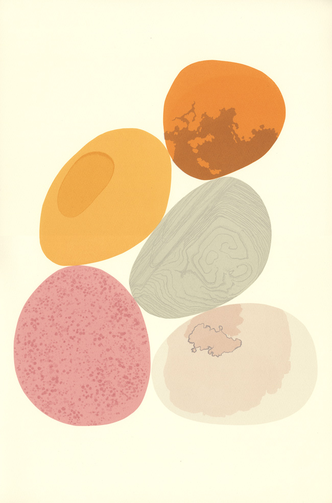 screenprint by Emily Ketteringham. five stylised pebbles balanced together in a pile. A pink one with darker speckles, a grey one with silver lines, two orange pebbles and a pale grey one with pale pink markings.